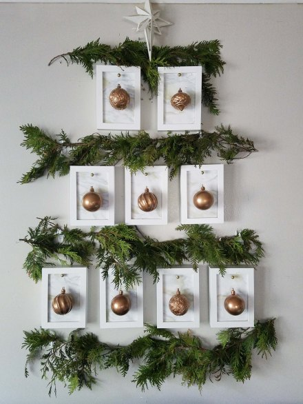 a marble and copper christmas a christmas tree gallery wall